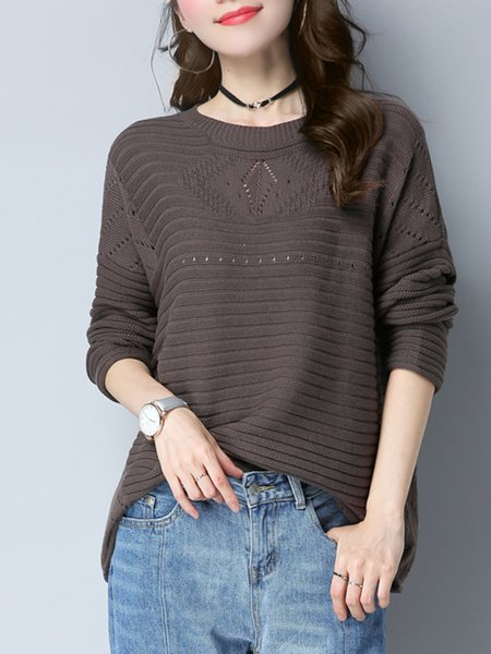 Knitted Eyelet Cotton Long Sleeve Sweater