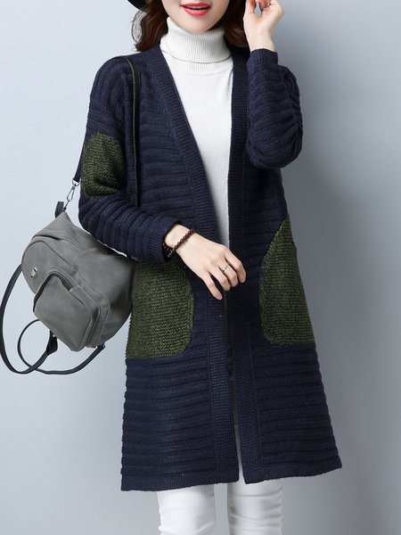 Long Sleeve Pockets Solid Casual Cardigan