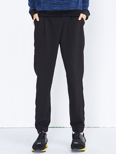 Black Pockets Casual H-line Track Pants