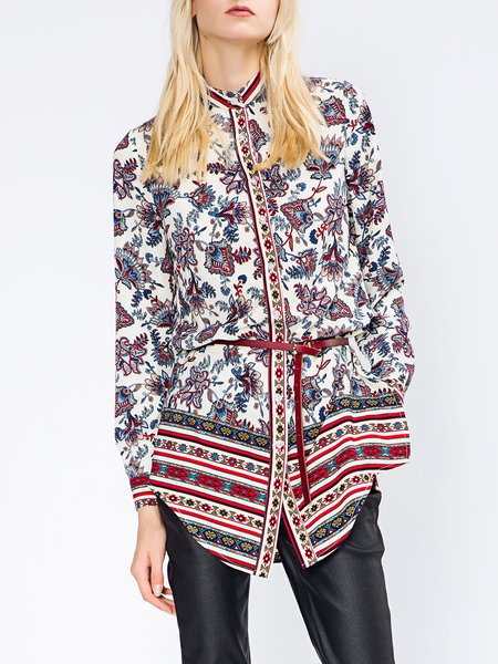 Multicolor H-line Polyester Floral-print Long Sleeve Tunic