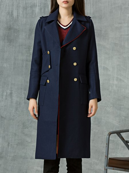 Lapel Pockets Wool Blend Long Sleeve Coat