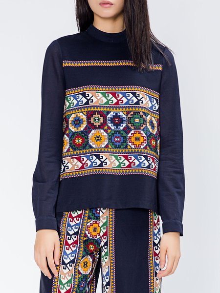 Navy Blue Printed Vintage Tribal Crew Neck Long Sleeved Top