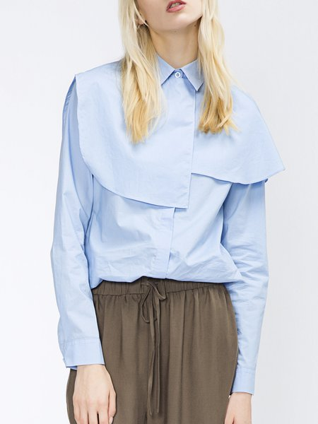 Light Blue H-line Cotton Long Sleeve Shirt Collar Blouse