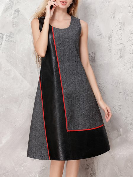 Black Sleeveless A-line Geometric Midi Dress