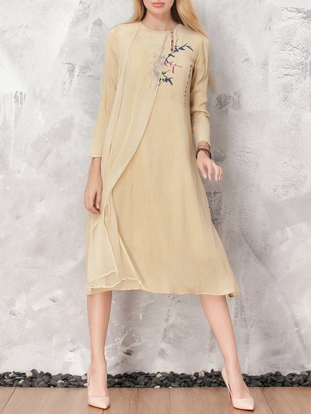 Beige Floral Asymmetrical Paneled Casual Midi Dress