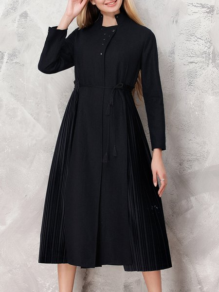 Black Plain Slit Elegant Wool Coat