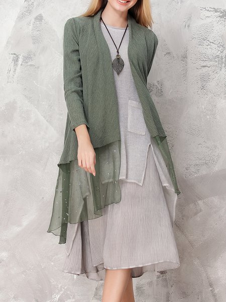 Casual Paneled Plain Long Sleeve Tencel Coat