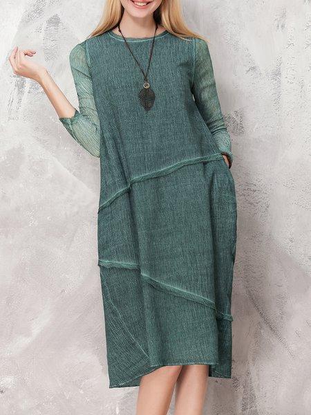 Dark Green Long Sleeve Cotton-blend Cocoon Midi Dress