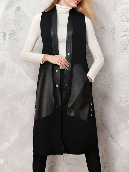 Black Paneled Sleeveless Crew Neck Plain Vests And Gilet