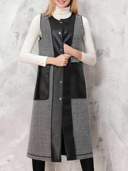 Gray Plain Paneled Sleeveless Vests And Gilet