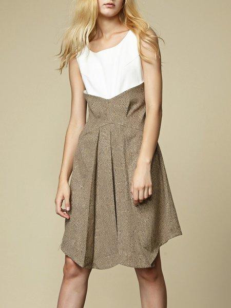 Brown Asymmetric Crew Neck Sleeveless Midi Dress