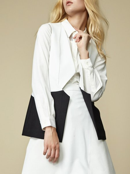 White-black Casual Plain Shift Vests And Gilet
