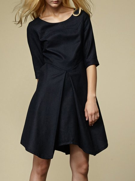 Dark Blue Woven Half Sleeve Asymmetrical Midi Dress