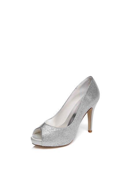 Silver Dress Summer Sparkling Glitter Heels