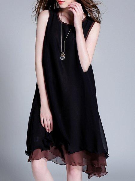 Plus Size Black A-line Bateau/boat Neck Elegant Midi Dress