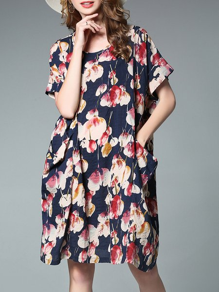 Floral Short Sleeve Pockets Midi Dress