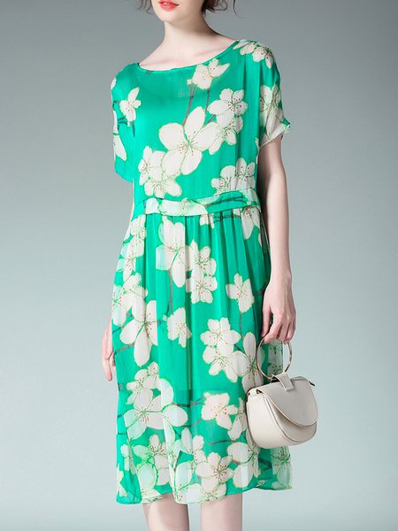 Two Piece Floral Crew Neck Short Sleeve Midi Dress