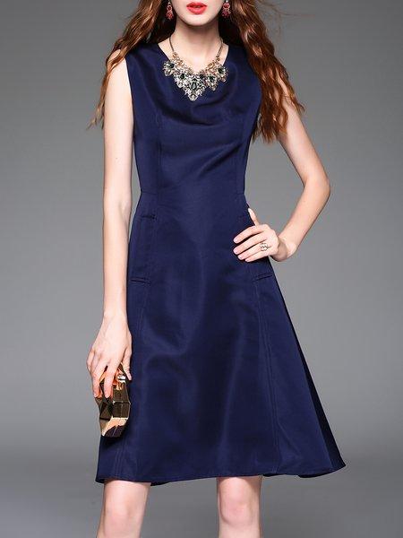 Navy Blue Ruffled Polyester Plain Casual Midi Dress