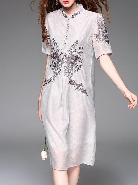 Floral Short Sleeve Stand Collar Vintage Midi Dress