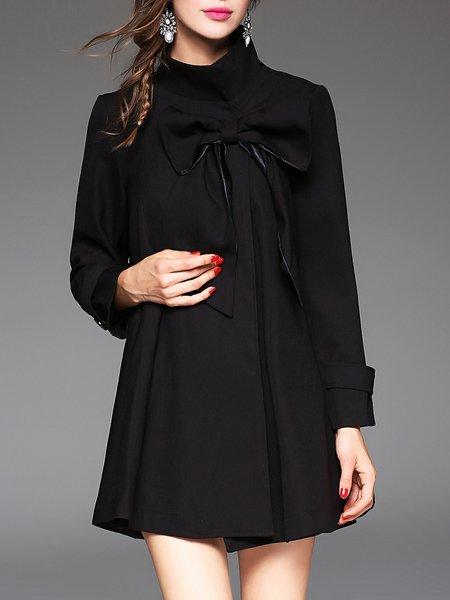 Long Sleeve Plain Elegant Turtleneck Bow Poncho And Cape
