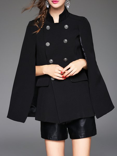 Black Cotton-blend Stand Collar Elegant Poncho And Cape