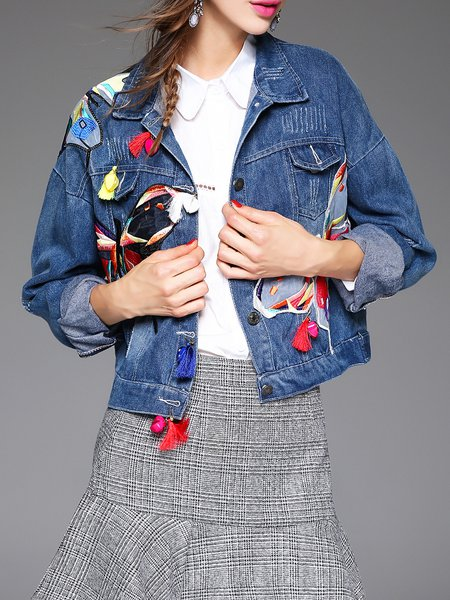 Statement Cotton-blend Embroidered Shirt Collar Cropped Jacket With Brooch