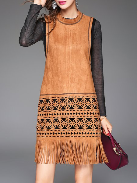 Camel Elegant Suede Sheath Sleeveless Plain Fringed Midi Dress