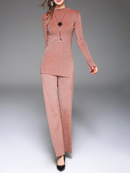 Brown Knitted Plain Long Sleeve Two Piece  Jumpsuit