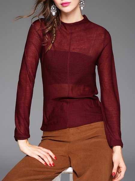 Wine Red Plain Wool Blend Casual Boat Neck Long Sleeved Top