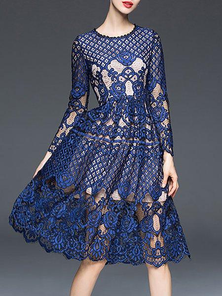 Lace A-line Elegant Long Sleeve Crew Neck Pierced Midi Dress