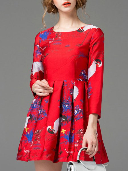 Red Printed Crew Neck Long Sleeve Mini Dress