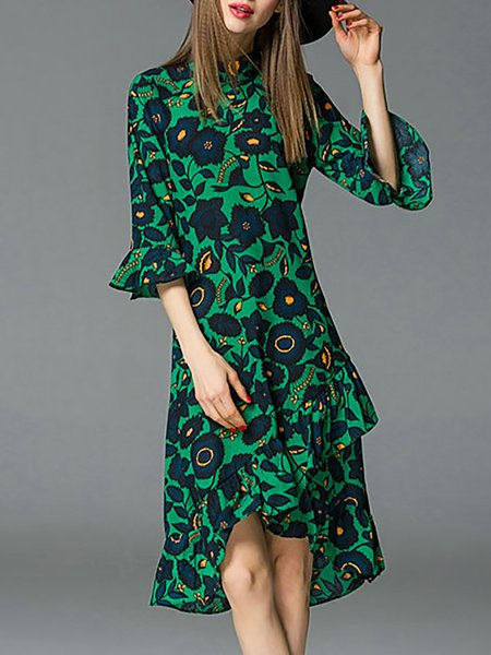 Green Vintage Polyester Stand Collar High Low Midi Dress