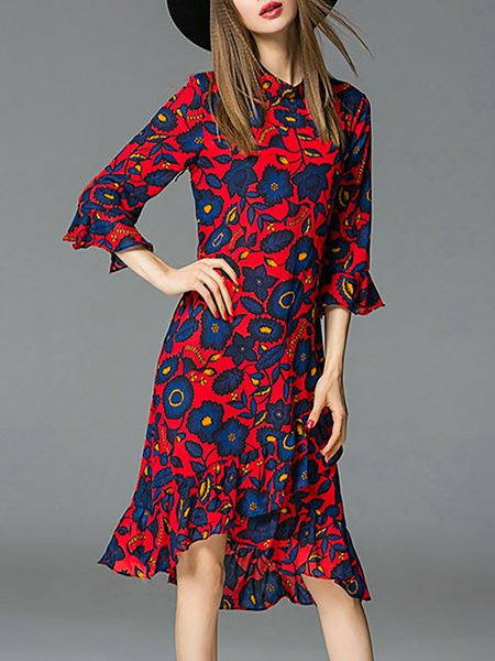 Red 3/4 Sleeve Polyester High Low Asymmetric Midi Dress