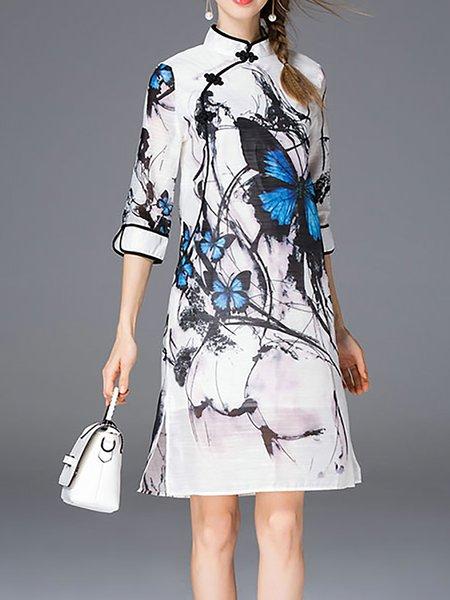 3/4 Sleeve H-line Stand Collar Vintage Mini Dress