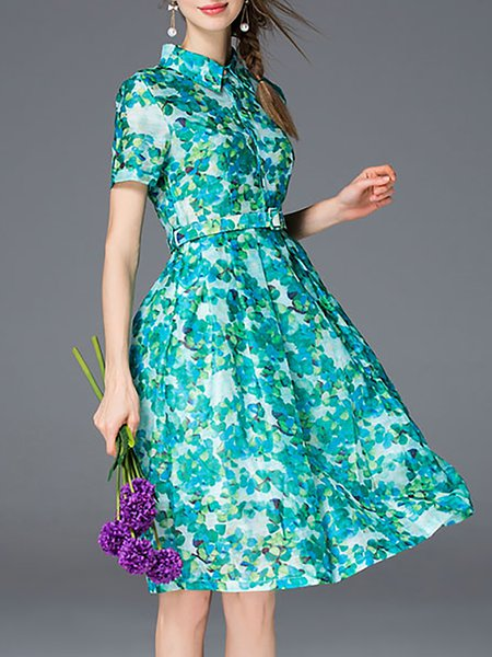 Short Sleeve Printed A-line Polyester Casual Midi Dress