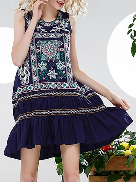Dark Blue Shift Sleeveless Cotton Tribal Mini Dress