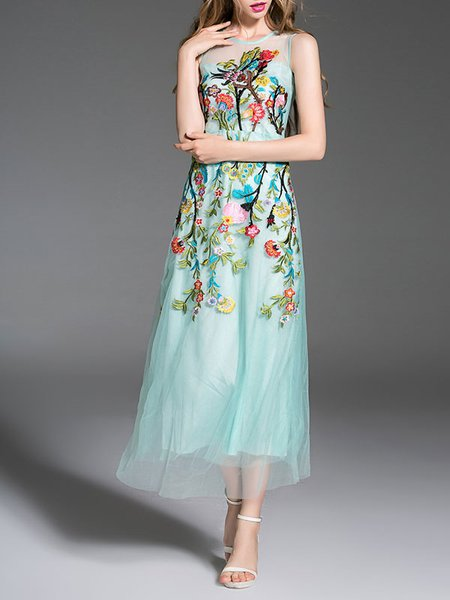 Aqua Sleeveless Polyester A-line Midi Dress