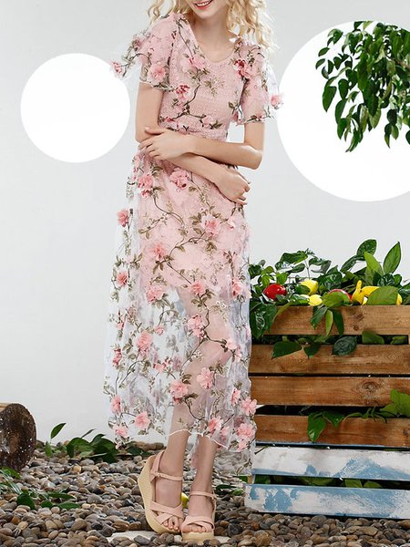 Floral Short Sleeve A-line Girly Crew Neck Midi Dress