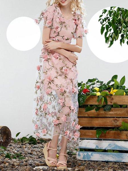 Floral Short Sleeve A-line Girly Crew Neck Midi Dress