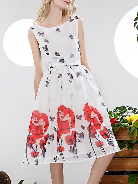 White Sleeveless Swing Crew Neck Printed Midi Dress
