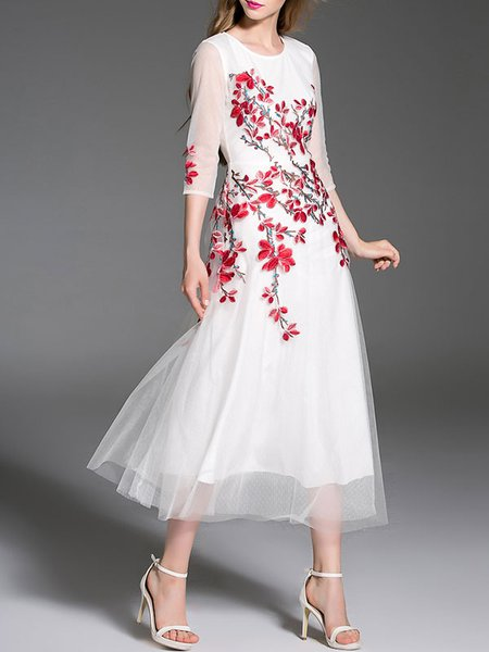 White Floral-embroidered Crew Neck Cotton 3/4 Sleeve Midi Dress