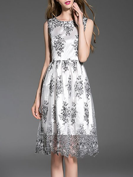 A-line Polyester Casual Printed Sleeveless Midi Dress