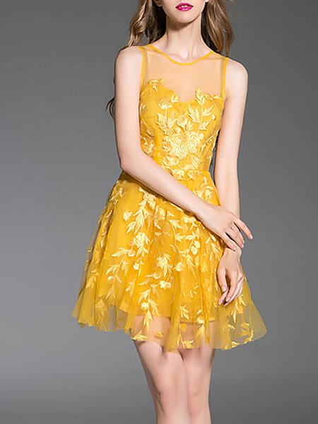 Yellow Sleeveless Embroidered Mini Dress
