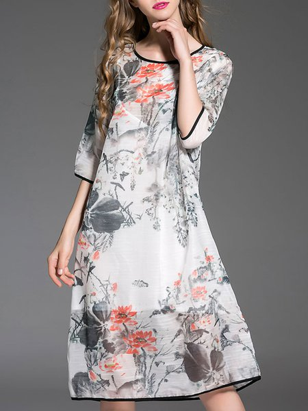 Light Gray Vintage A-line Printed Polyester Midi Dress