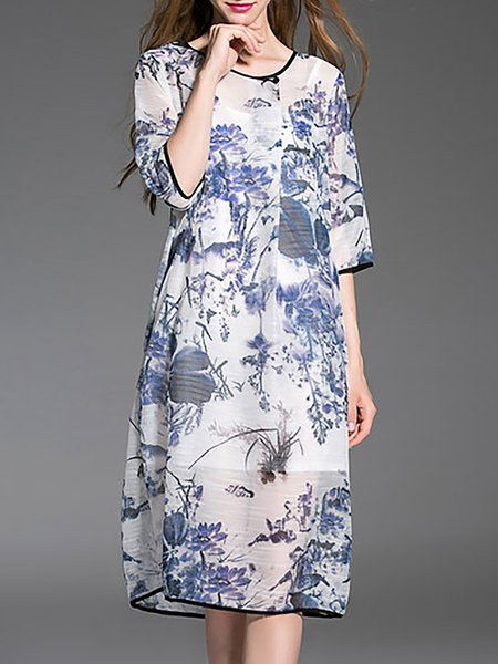Blue Printed Polyester Crew Neck Vintage Midi Dress