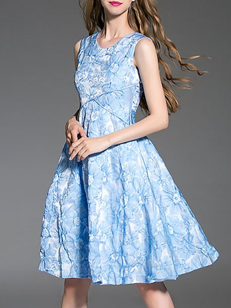 Light Blue A-line Girly Midi Dress