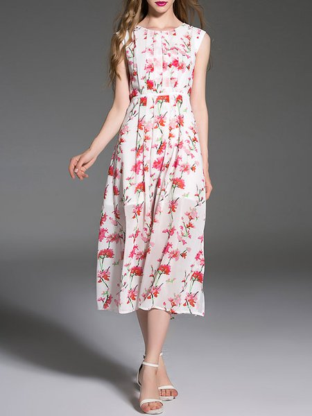 White Floral-print A-line Short Sleeve Midi Dress