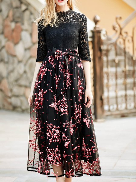 Swing Guipure Lace Casual Floral Maxi Dress with Belt
