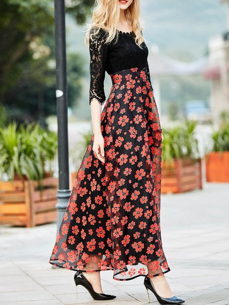 Swing 3/4 Sleeve Floral Crew Neck Casual Maxi Dress