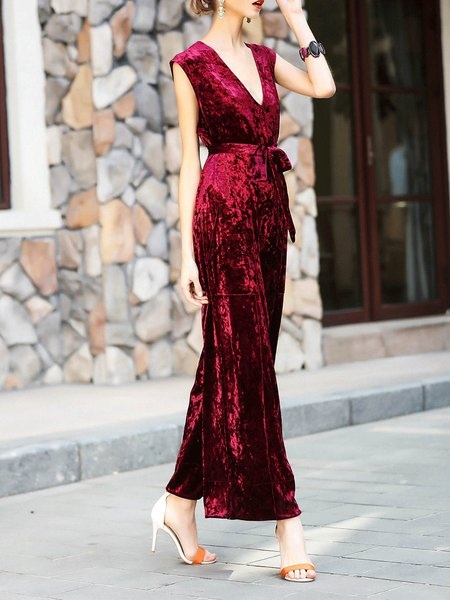 V Neck Casual Solid Sleeveless Jumpsuit with Belt